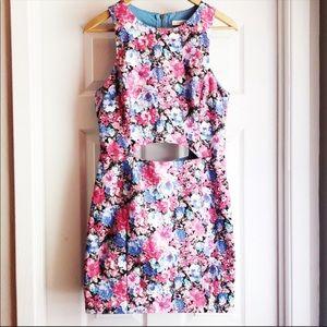LUSH Cut Out Open Back Mini Dress Floral Large